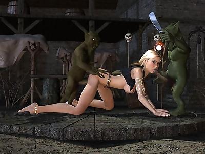 Blonde elf gets double..