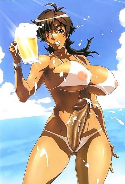 Bikini futanari at beach -..