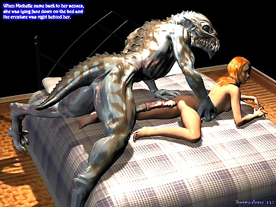 Alien with very long and fat cock hard fucking and cum covering pretty teen - part 793